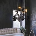 Creative Gear and Pipe Hanging Light Fixtures Vintage Metal 3 Lights Pendant Chandelier for Indoor
