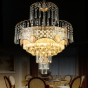 Multi-Tier Crystal Chandelier Contemporary Crystal Drum Ceiling Lights in Gold for Dining Room