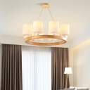 Opal Glass Cylinder Chandelier with Wooden Ring Nordic Style Hanging Ceiling Light in White