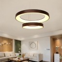 Metallic Ring Hanging Light Fixture Modern Simple Led Chandelier with Frosted Diffuser