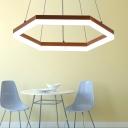 Hexagon LED Ceiling Pendant Light with Diffuser Modern Hanging Ceiling Light for Living Room
