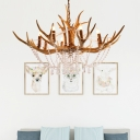 Resin Antler Chandelier Light with Crystal Strands 8 Lights Rustic Loft Ceiling Pendant