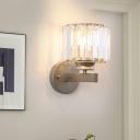 Metal Gray Wall Sconce Light Modern Crystal Fringe 1 Head Wall Lamp Sconce for Bedroom Bedside