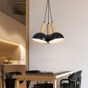 Black Dome Multi Light Pendant Nordic Style Iron and Wood 3 Light Hanging Lights for Dining Room