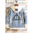New Trendy Fashion Logo Printed Patched Hooded Buttons Down Ripped Denim Jacket