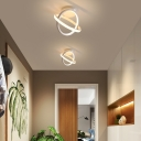 Black/White Ring Flush Lighting Contemporary 2-Led Metal Flush Mount Light for Foyer