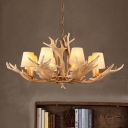 Fabric Cone Chandelier Lighting with Resin Antler Decoration 8 Light Height Adjustable Hanging Pendant