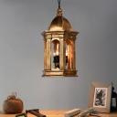 Vintage Lantern Chandelier Light Metallic 3 Lights Foyer Pendant Light in Gold
