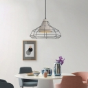 Cement Dome Hanging Light with Metal Cage Modernism 1 Light Pendant Light in Gray