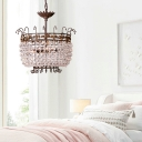 Clear Crystal Round Hanging Chandelier 3 Lights French Style Pendant Lamp in Rust
