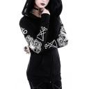 Hot Fashion Punk Style Long Sleeve Sheep Pattern Back Zip Up Black Slim Hoodie