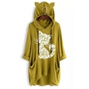 Womens New Trendy Cute Ear Design Cartoon Cat Letter Printed Longline Hoodie