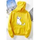 Lovely Cartoon Cat Printed Long Sleeve Unisex Sport Loose Pullover Hoodie