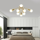 Living Room Bare Bulb Semi-Flush Ceiling Fixture Metal 8/12 Light Modern Gold Ceiling Light