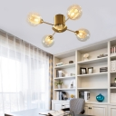 Living Room Semi Flush Ceiling Light Glass 4/6 Light Modern Gold Finish Ceiling Light