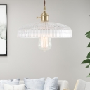 Polished Brass Pendant Light Fixture Transitional Ribbed Glass 1 Light Hanging Lights