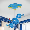 Blue Cloud Flush Lighting with Helicopter Cartoon Style Wood Ceiling Light Fixture