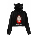 Fashion Money Heist Cartoon Figure Printed Long Sleeve Cat Ear Crop Hoodie