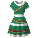 Christmas 3D Printed Round Neck Short Sleeve Mini A-Line Dress