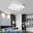 3-Square Ceiling Light Fixture Minimalist Metallic LED Flush Mount Lighting in White Finish