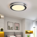 Contemporary Circle Flush Mount Fixture Acrylic Black and White Ceiling light for Bedroom