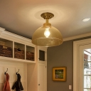 Brass Finish Ceiling Lights Farmhouse Metal 1 Head Bowl Semi-Flush Mount Light for Corridor