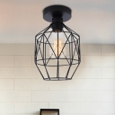 Prism Cage Ceiling Lights Farmhouse Style Steel 1 Head Ceiling Light Fixtures in Black for Bedroom
