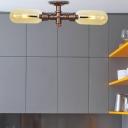 Steampunk Pipe Semi Flush Light Fixtures Glass 2 Heads Semi Flush Ceiling Lights for Foyer