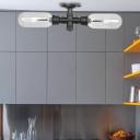 Black 2 Lights Semi-Flush Mount Antiqued Steel and Glass Pipe Semi Mount Lighting for Corridor