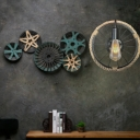 Wheel Sconce Wall Lamps Lodge Rope and Metal 1 Bulb Arched Sconce Wall Lights for Coffee Shop