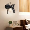 Black Butterfly Wall Mounted Lights Contemporary Iron 1 Head Wall Hanging Lights for Bedside