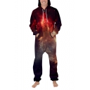 New Fancy 3D Purple Starry Galaxy Printed Long Sleeve Zip Up Unisex Jumpsuits