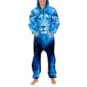Cool Unique 3D Lion Printed Long Sleeve Zipper Front Sport Loose Jumpsuits