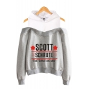 Fashion Star Letter Scott Schrute Cold Shoulder Long Sleeve Pullover Hoodie