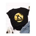 Funny Animal Pattern Round Neck Short Sleeve Casual Loose Summer T-Shirt