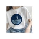 Hot Popular Moon Pattern Printed Short Sleeve Leisure Tee