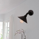 Retro Industrial Lighting Fixture Single Bulb Sconce Wall Lights with Metal Cone Shade for Foyer