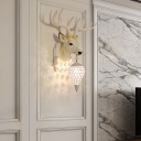 White Deer Wall Sconce Light Country Style Resin 1 Light Indoor Lighting for Dining Room