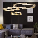 Gold Circular Ring Ceiling Pendant Light Contemporary Led Chandelier with Metal and Acrylic Shade