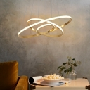Modernism Circle Chandelier Lamp Contemporary Integrated Led Ceiling Pendant in Chrome/Gold