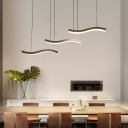 Metallic Wave 3/6 Light Pendant Height Adjustable Minimalist Pendant Lighting with Acrylic Shade