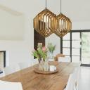 Single Light Wooden Frame Hanging Light Nordic Indoor Pendant Light for Bedroom