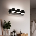 Nordic Style Pyramid Wall Lighting Metal Acrylic 3 Lights Sconce Wall Lamps in Black for Bedroom