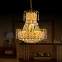 8 Lights Candle Pendant Ceiling Lights Traditional Crystal Bead Pendant Light Fixtures in Gold
