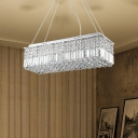 Crystal Rectangular Hanging Light Fixture Contemporary Crystal Ball Pendant Light Fixture for Kitchen