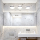 2/3 Heads Circle Wall Lamps Modern Metal and Acrylic LED Wall Light Fixture in White for Bathroom