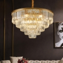 Gold/Black Multi-Tier Pendant Light Fixture Contemporary Crystal Metal Hanging Lamps with Adjustable Cord for Living Room