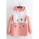 Cute Cartoon Rabbit Print Carrot Drawstring   Color Block Long Sleeve Pink Hoodie
