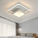 Nordic Style Square Flush Lamp Metal Integrated Led Bedroom Ceiling Flushmount