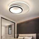 LED Double Ring Flushmount Light Minimalist Metal Black and White Ceiling Flush Light